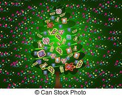 Stock Illustration of scientific christmas tree(green).