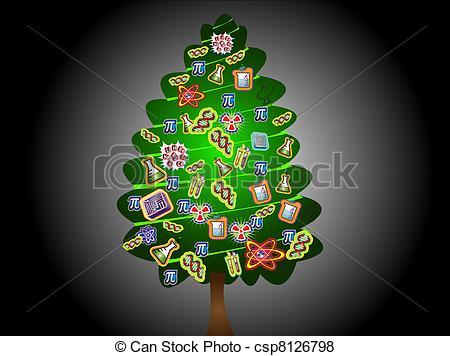 Stock Illustrations of scientific christmas tree(green.
