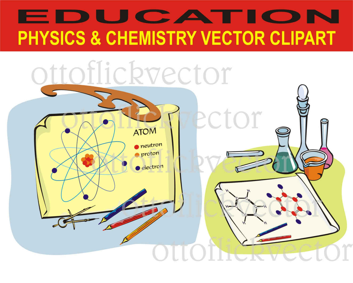 PHYSICS CHEMISTRY vector CLIPART, science education lab.