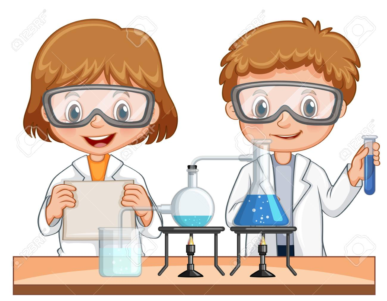 Boy and girl do science experiment together » Clipart Station.