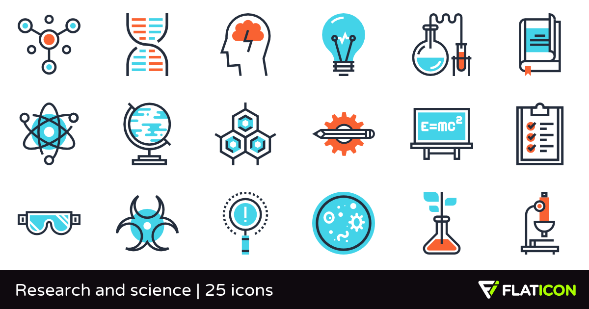 Research and science 25 premium icons (SVG, EPS, PSD, PNG files).