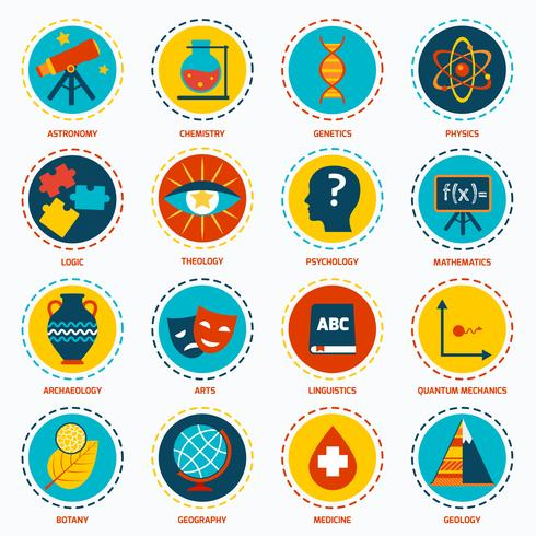 Science areas icons.