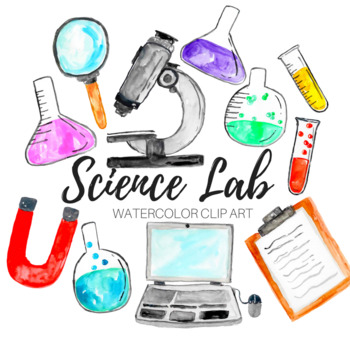 Watercolor Science Lab Clip art Set.