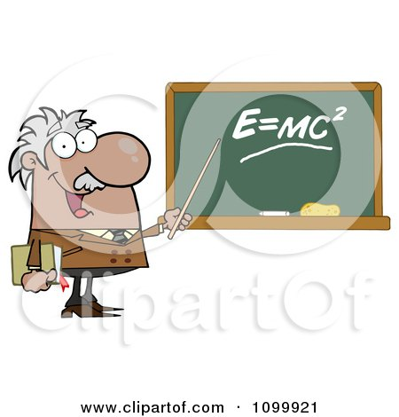 Clipart Happy Caucasian Science Professor Discussing Mass Energy.