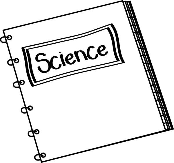 Black and White Science Notebook Clip Art.