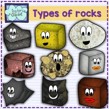 SCIENCE Clipart: Cute 3 types of rocks characters.