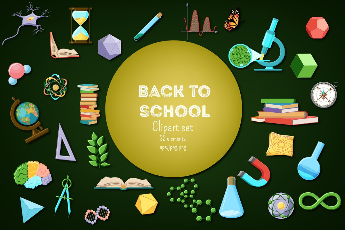 Back to School. Science clipart set..