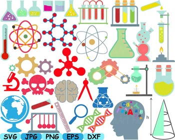 Science School Clip art svg math atom book experiment lesson biology lab.