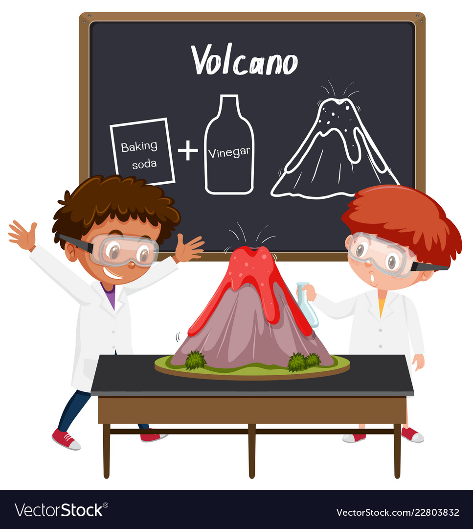 Student volcano science experiment.