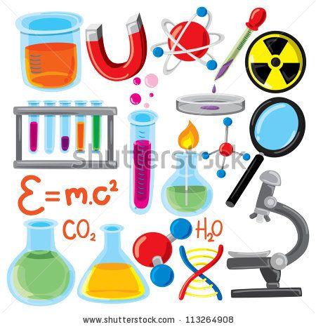 Set Of Science Stuff Icon Stock Vector Illustration.