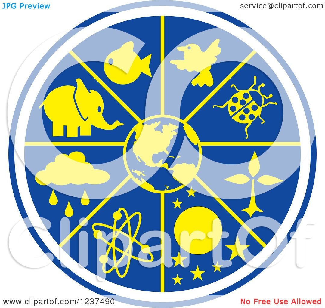 Clipart of a Blue and Yellow Science World.