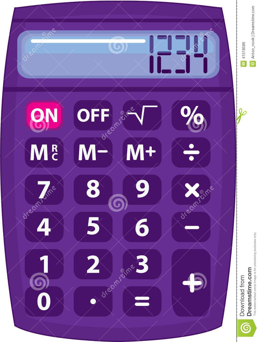 Purple Calculator Stock Vector.