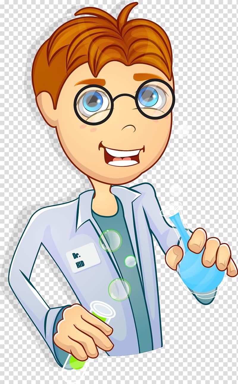 Scientist Cartoon , hand.