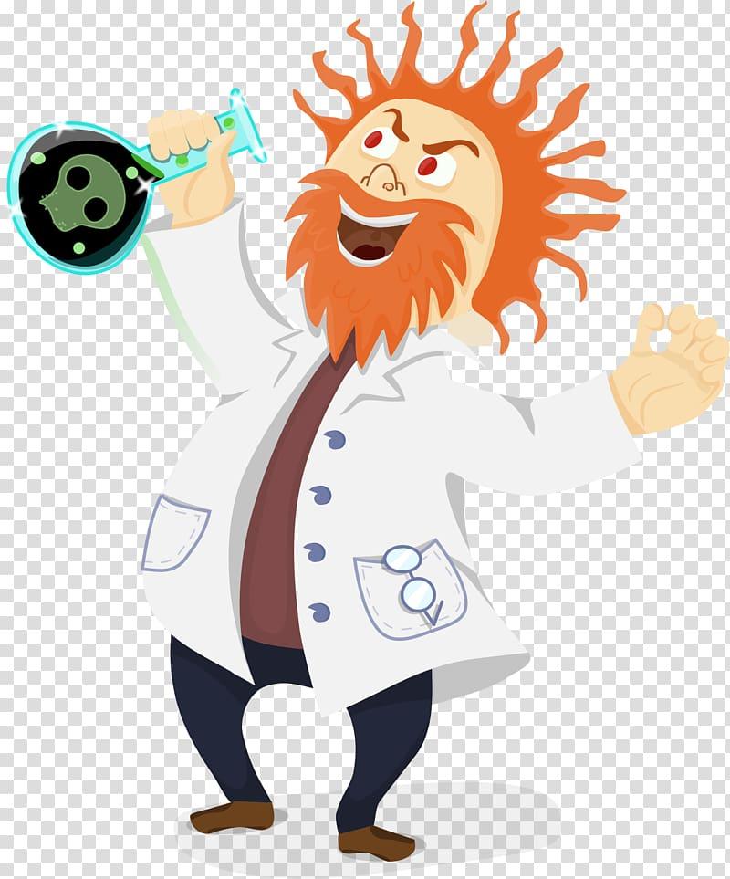 Mad scientist Cartoon , Professor transparent background PNG.