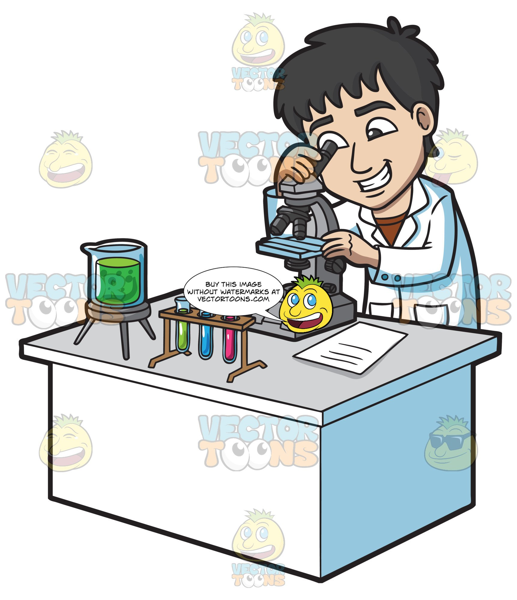 A Happy Scientist Looking At An Organism Under A Microscope.