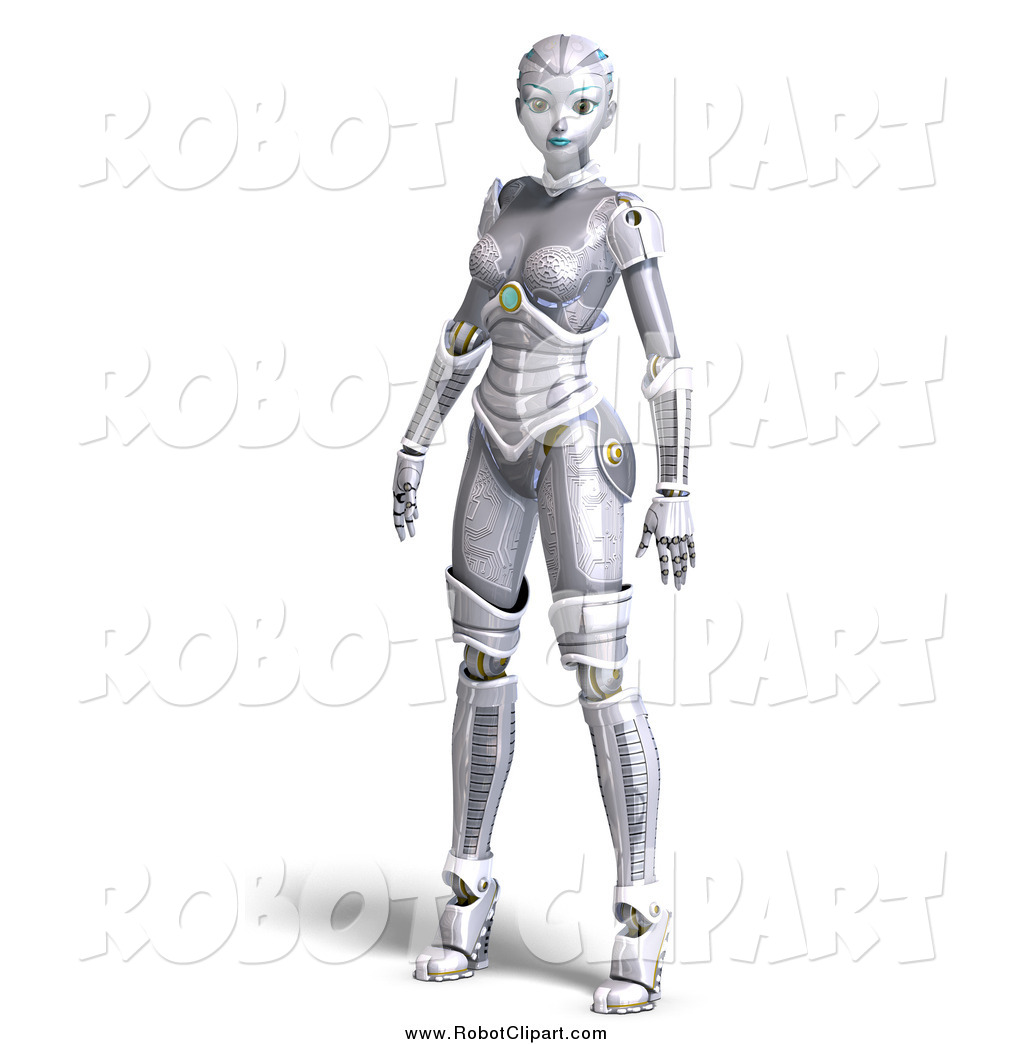 Clipart of a 3d Female Sci Fi Robot Standing by Ralf61.