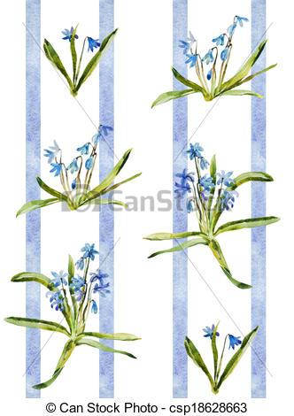 Stock Illustration of Watercolor blue flowers scilla pattern retro.