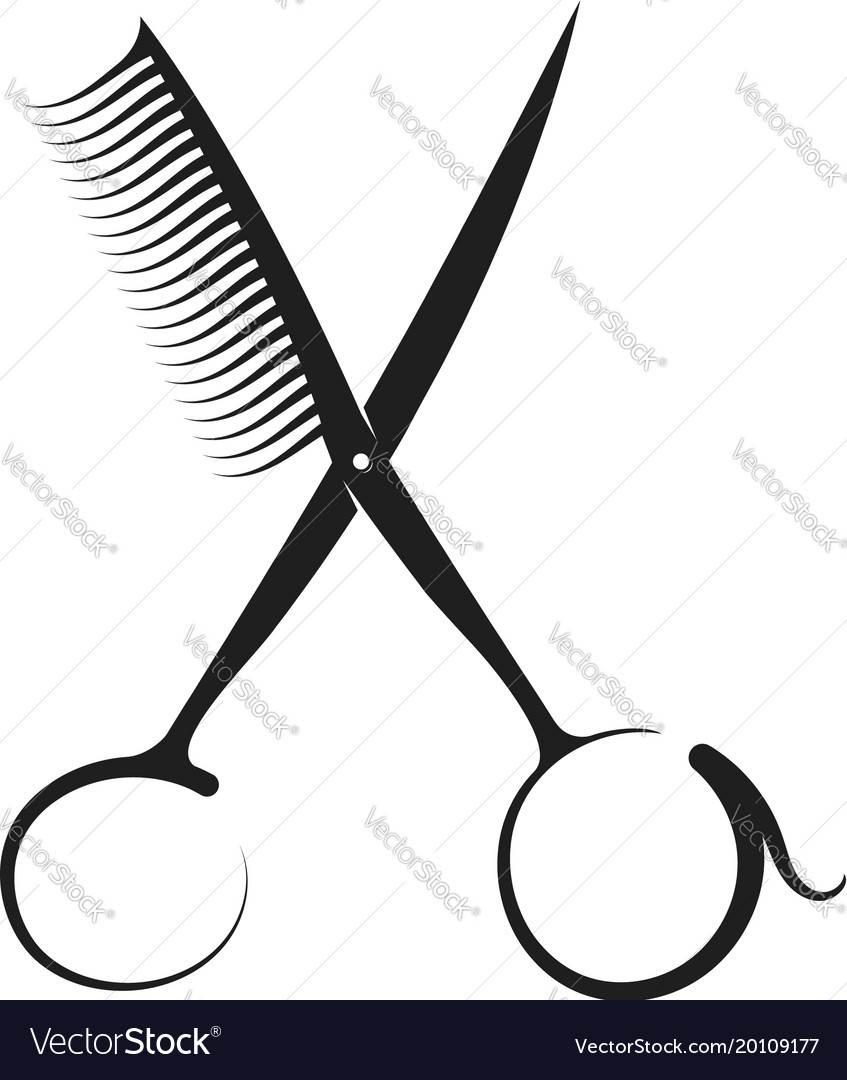 Scissors and comb silhouette.