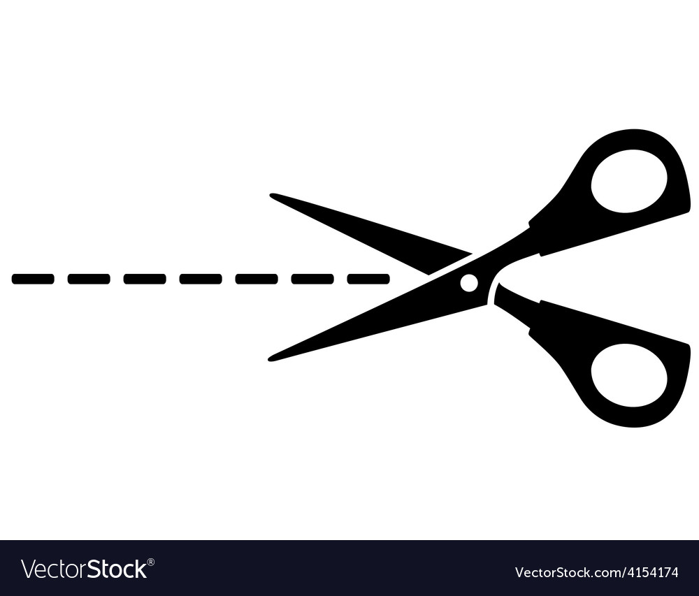 Scissors silhouette and cut line.