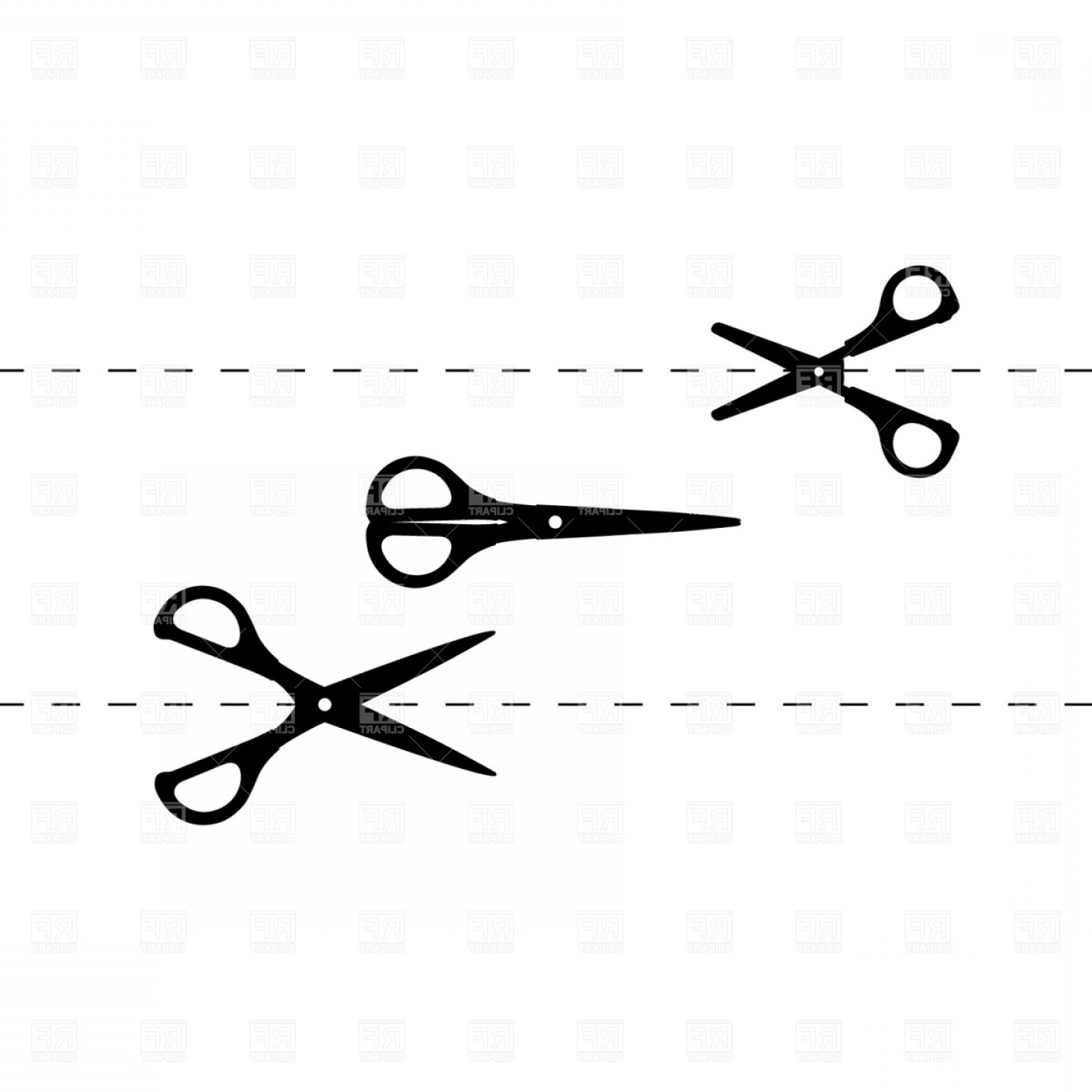 Cutting Scissors And Section Line Vector Clipart.