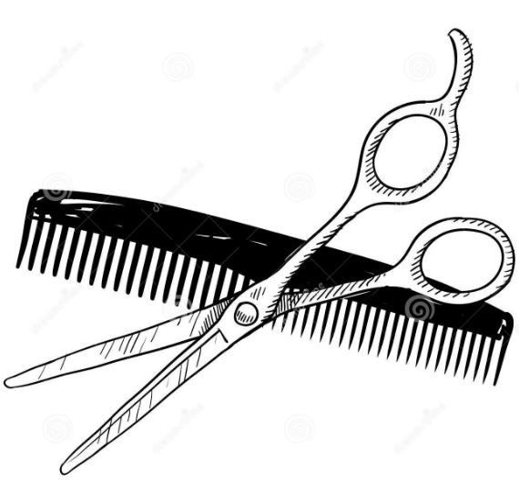 Scissor And Comb Clipart.