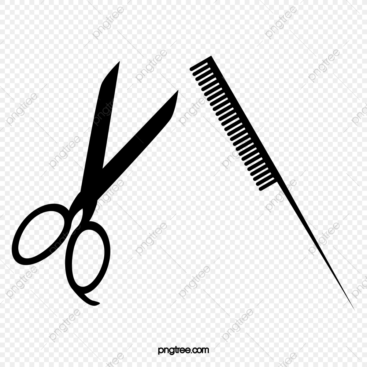 Vector Scissors Comb, Comb Clipart, Scissors, Comb PNG.