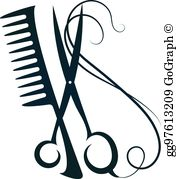 Scissors Comb Clip Art.