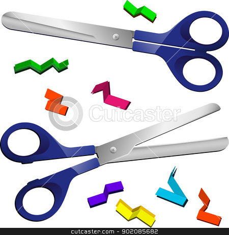 Two Scissors with cut paper pieces stock vector.