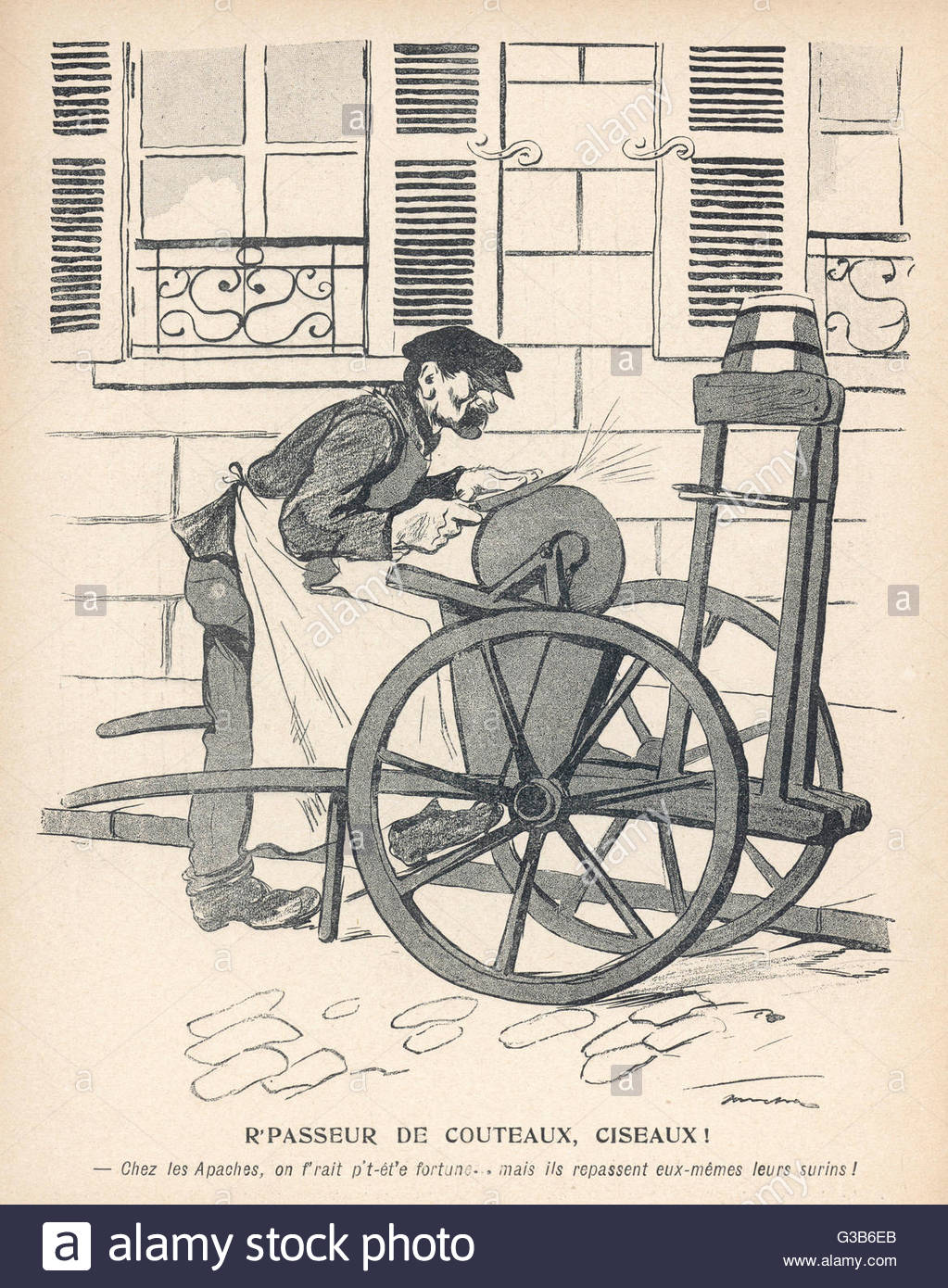 A Man Grinding Knives And Scissors In Paris Date: 1905 Stock Photo.