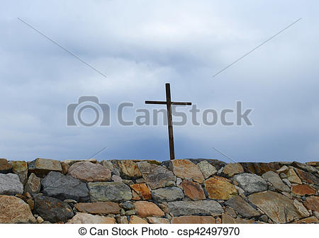 Picture of Cross Above Rock Wall in Scituate.