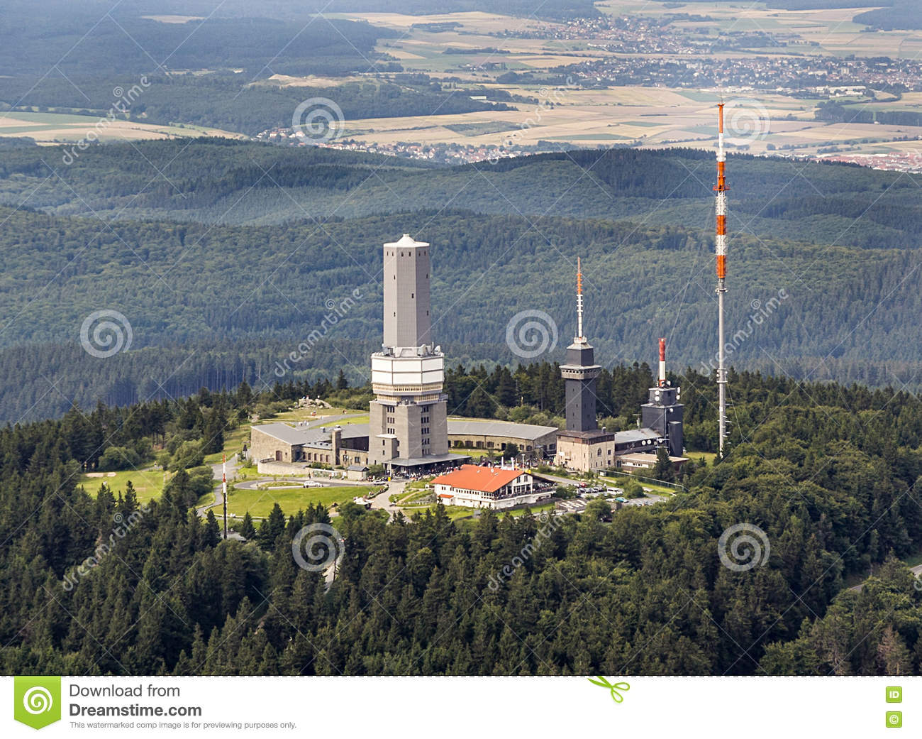 Top Of Feldberg In Hesse With Tv Tower Editorial Stock Image.