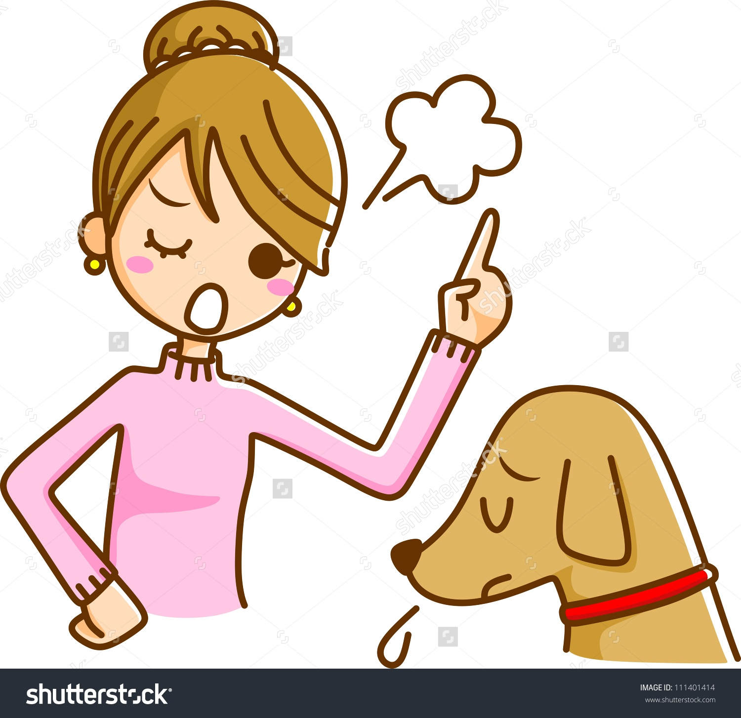 Women Scold Dog Stock Illustration 111401414.