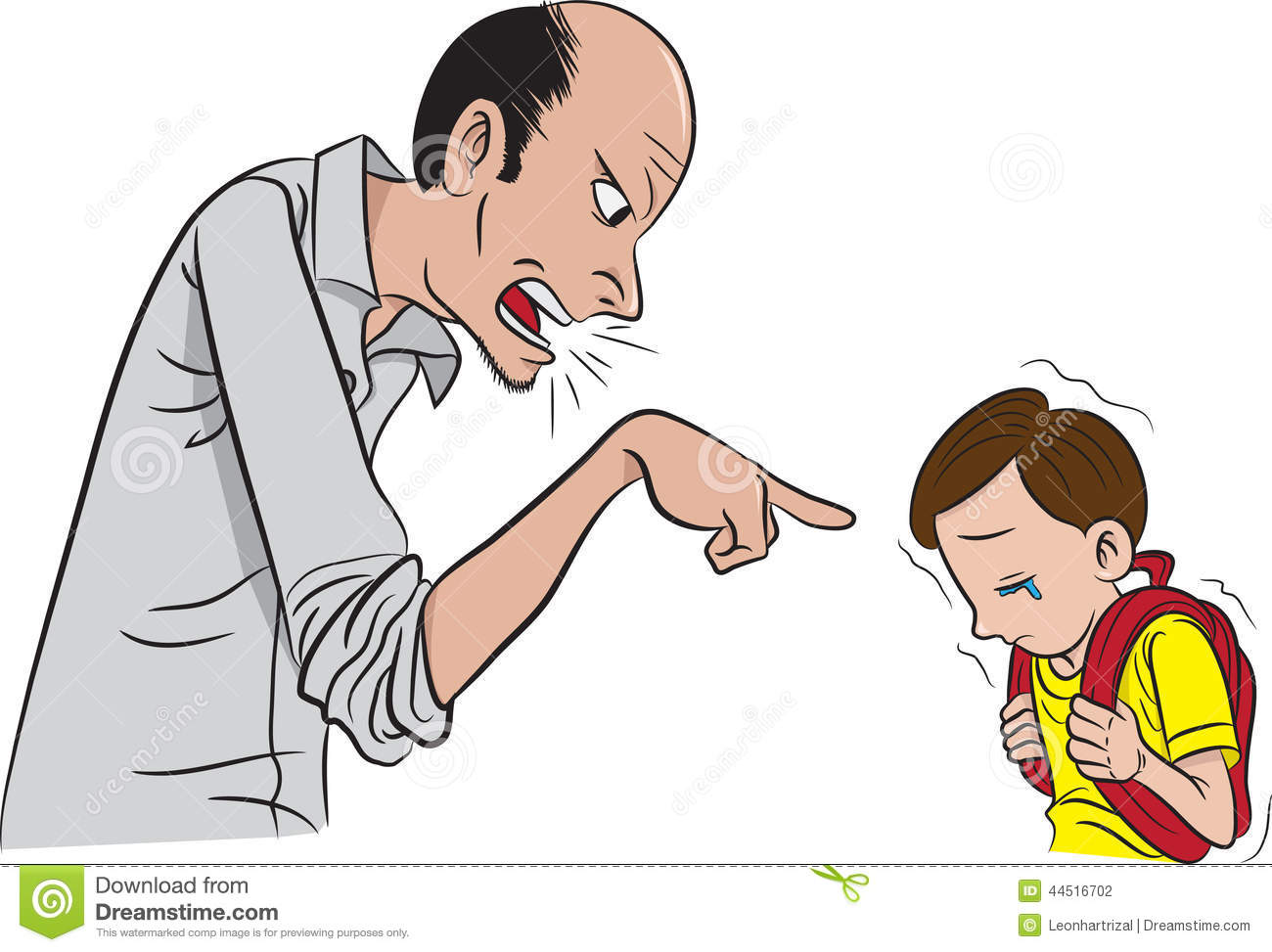 Father scolding son clipart.