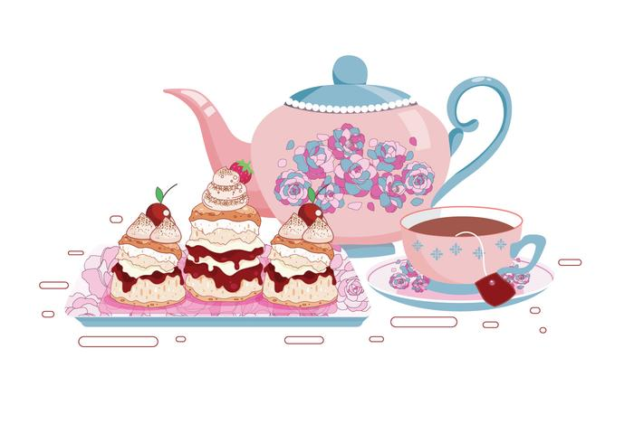 Set of Tea Cups and Scone Vectors.