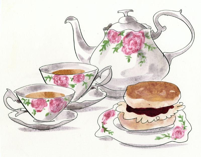 Tea and scones clipart.