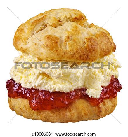 Stock Photo of Fresh Cream and Jam Scone on Black u16009533.