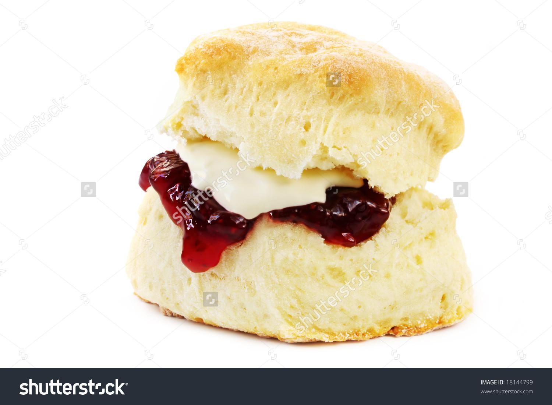 Freshbaked Scone Strawberry Jam Whipped Cream Stock Photo 18144799.