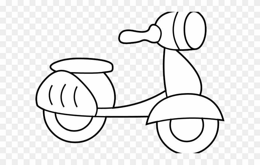 Scooter Clipart Coloring Page.