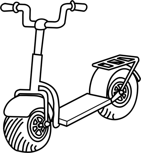 Line art vector image of kick scooter.