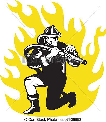 Disegni di tubo, pompiere, fuoco, pompiere, scopo, inginocchiarsi.