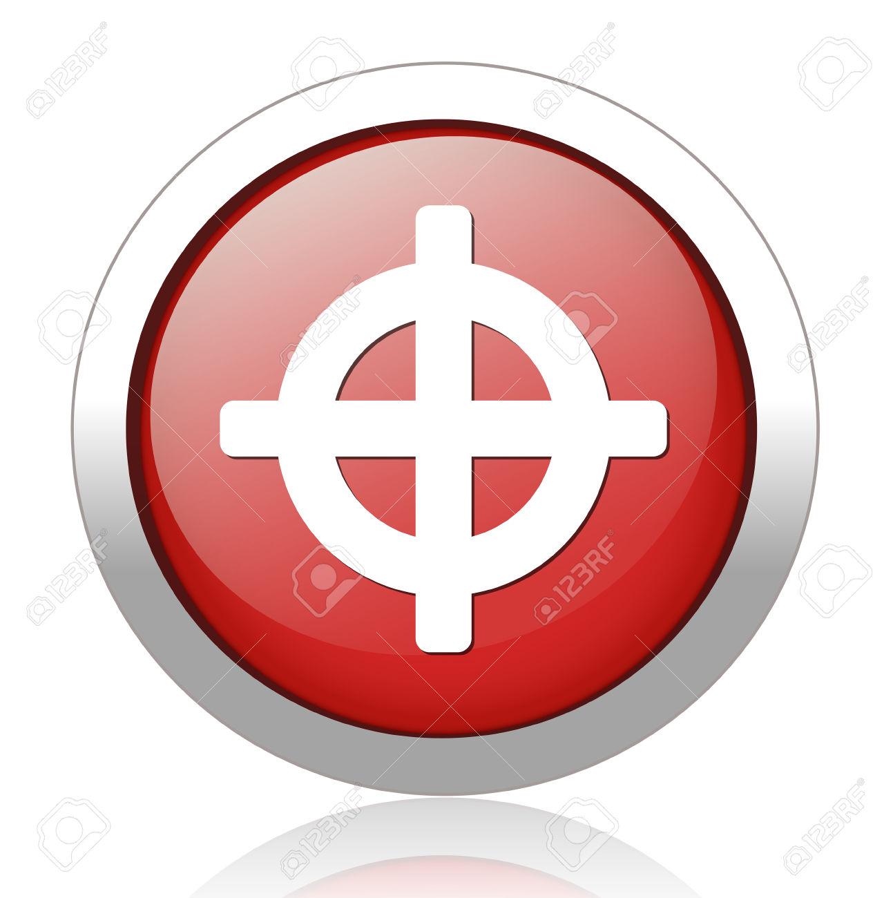Crosshair Icona Segno. Obiettivo Simbolo Scopo Clipart Royalty.