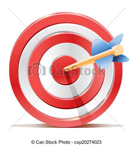 Illustrazioni vettoriali di scopo, freccia, bersaglio, rosso.