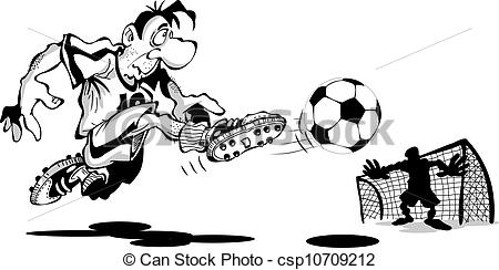 Vector Clip Art of Player scores a goal, is isolated on a white.