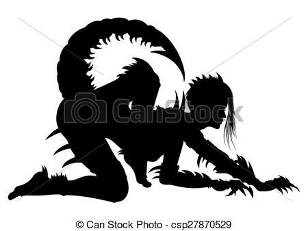 Clip Art of Woman Scorpio Silhouette.