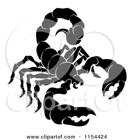 Clipart of a Black and White Horoscope Zodiac Astrology Scorpio.