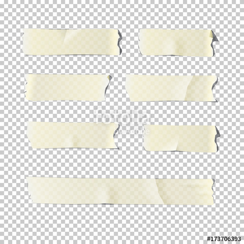 Adhesive tape set isolated on transparent background. Vector.