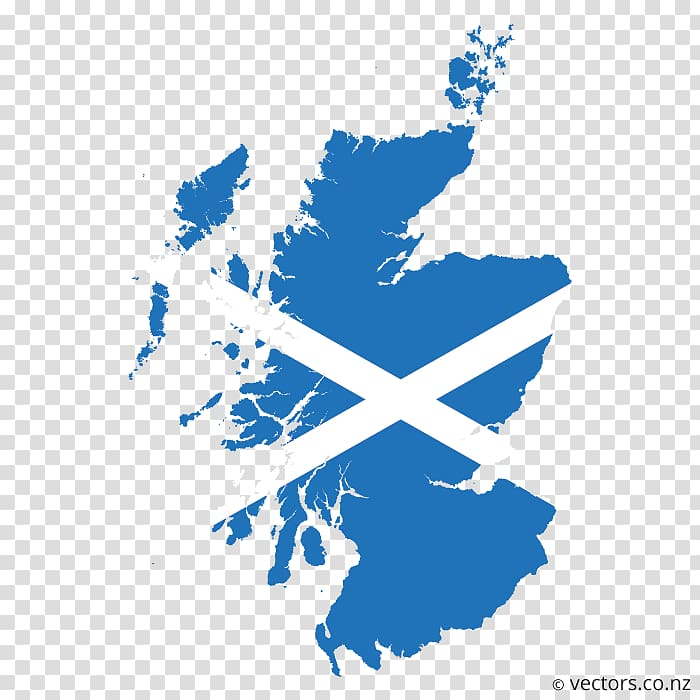 Flag of Scotland Map, country road transparent background.
