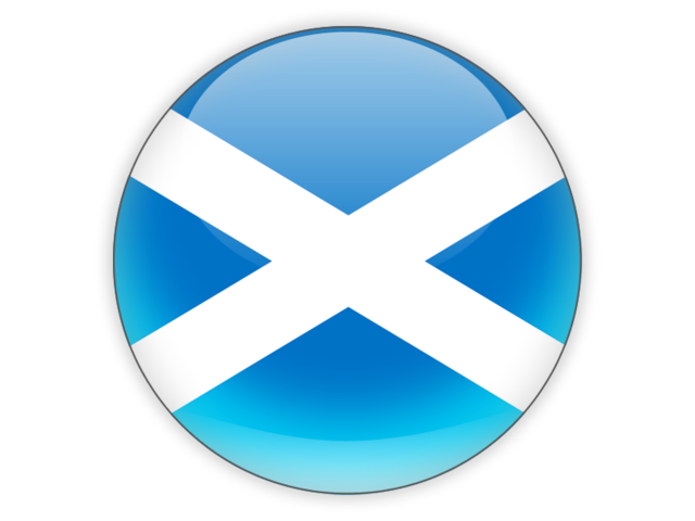 Round icon. Illustration of flag of Scotland.