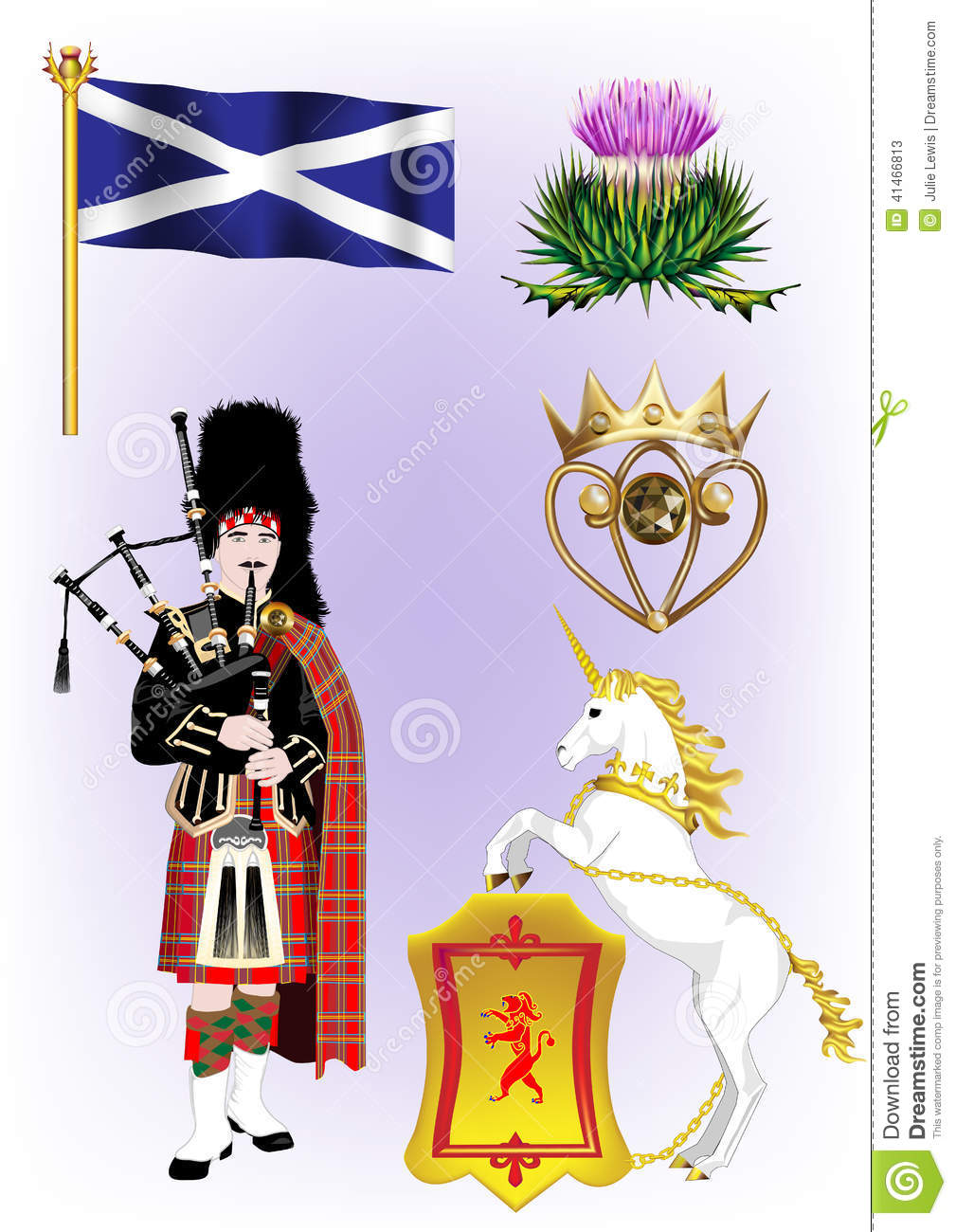 Scottish Vector Illustrations Stock Vector.