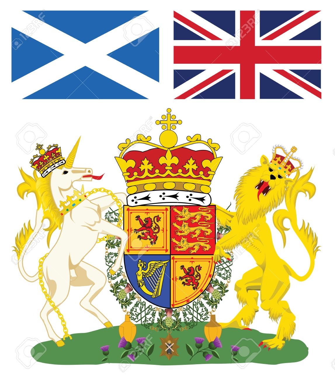 Scottish Royal Coat Of Arms With Flags Of Scotland And Great.